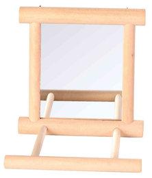 Houten spiegel met zitstok