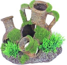 Ornament amphoras met gras en mos