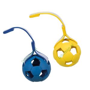 Rubber sporting bal met koord 11cm