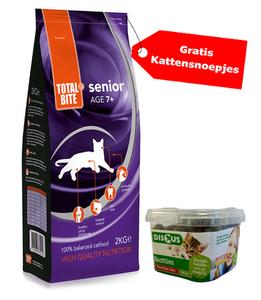 Total Bite Cat kattenvoer senior 2kg gratis kattensnoep