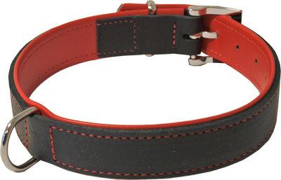 Dubbel soft leren honden halsband zwart rood