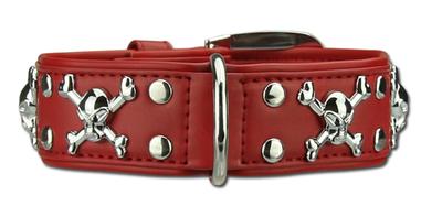 Hondenhalsband skulls rood
