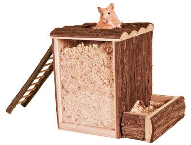 Houten hamster speel en graaftoren 25cm